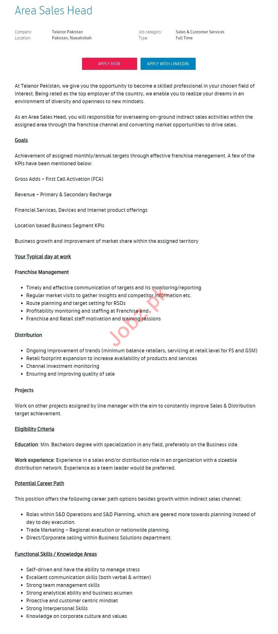 Area Sales Head Jobs 2019 in Nawabshah