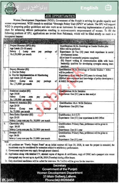Women Development Department Punjab Jobs 2019