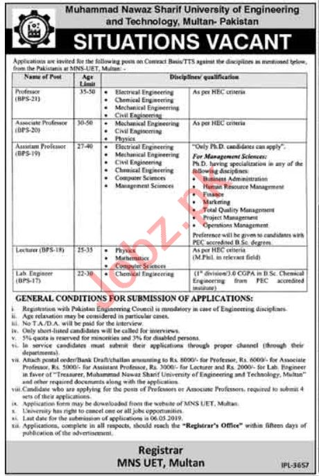 MNSUET University of Engineering & Technology Jobs 2019
