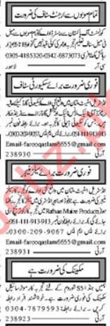 Sales Manager, Receptionist, Clerk & Security Guard Jobs