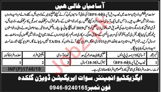 Irrigation Division Swat Jobs for Tube Well Operator
