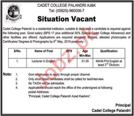 Cadet College Palandri AJK Jobs 2019 for Lecturers