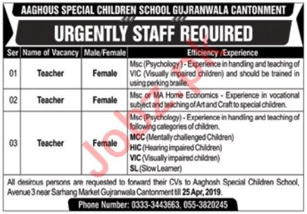 Aaghosh Special Children School Gujranwala Cantt Jobs 2019