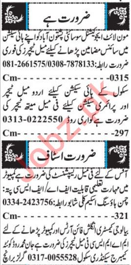 Teaching Staff Jobs 2019 in Quetta