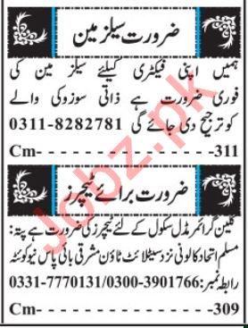 Teaching Staff Jobs 2019 in Private School