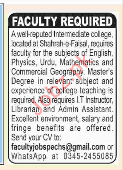Lecturer Jobs in Intermediate College 2019 Job Advertisement Pakistan