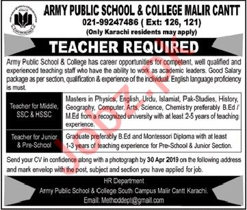 Army Public School & College Teacher Job in Karachi