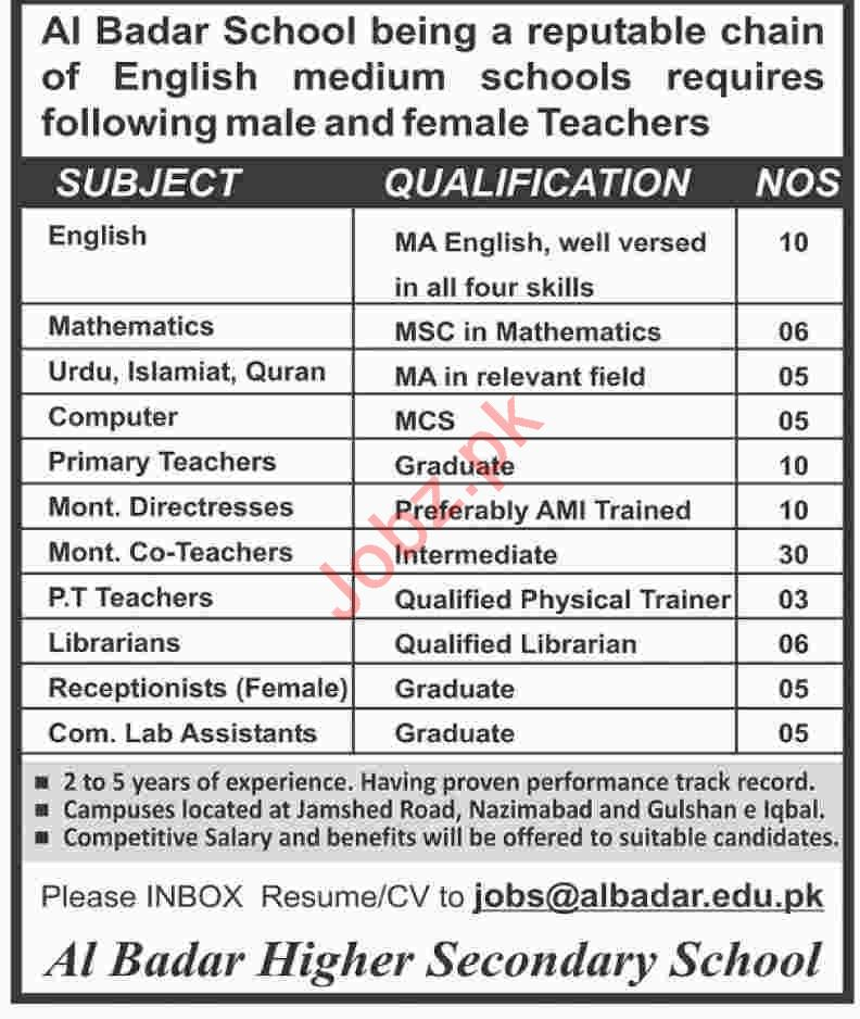 Al Badar School Teaching Staff Jobs 2019