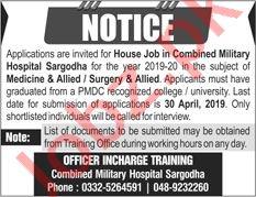Combined Military Hospital CMH House Job 2019