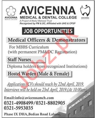 Avicenna Medical & Dental College Jobs 2019 in Lahore
