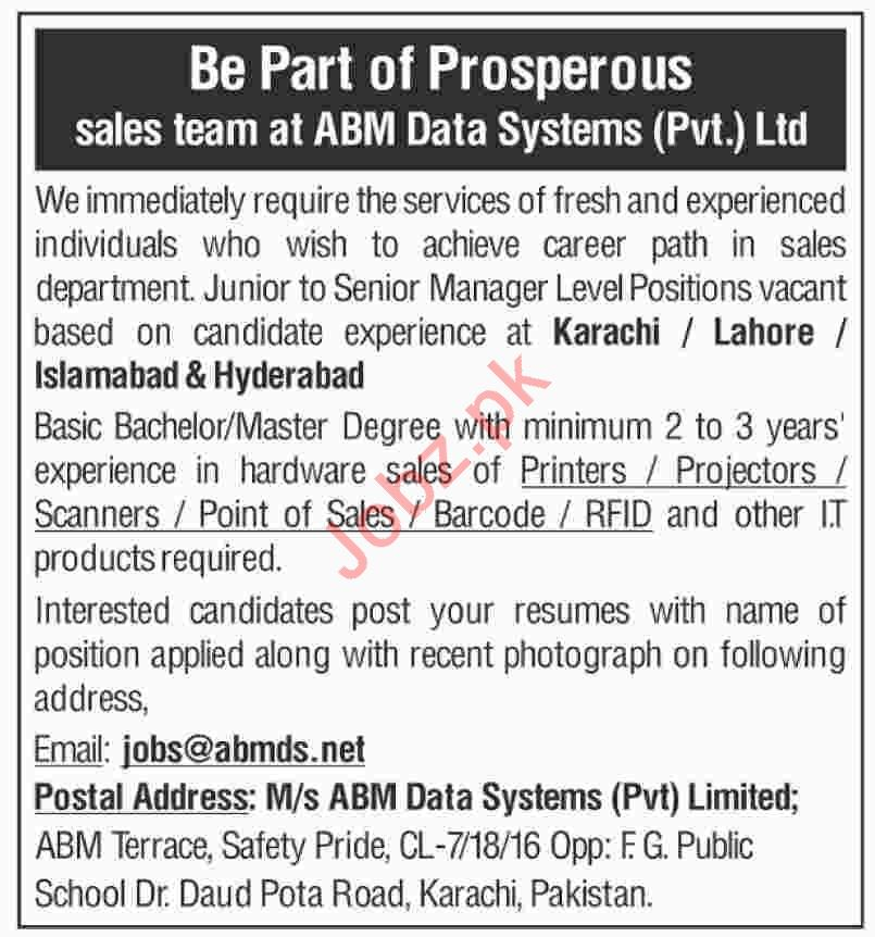 AMB Data Systems Private Limited Sales Team Jobs 2019