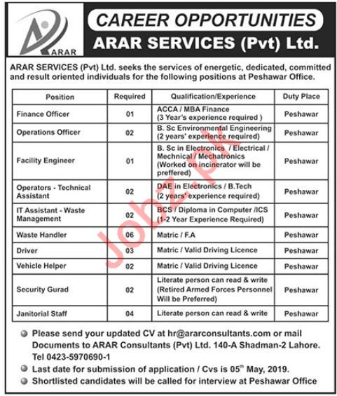 Arar Services Pvt Ltd Jobs 2019 in Peshawar KPK