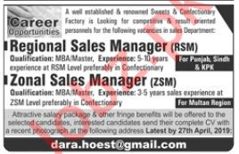 Sweets & Confectionery Factory Regional Sales Manager Jobs