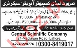 Central Scientific Company Lahore Jobs for Secretary