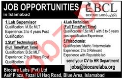 Biocare Labs Pvt Limited Jobs 2019 in Islamabad