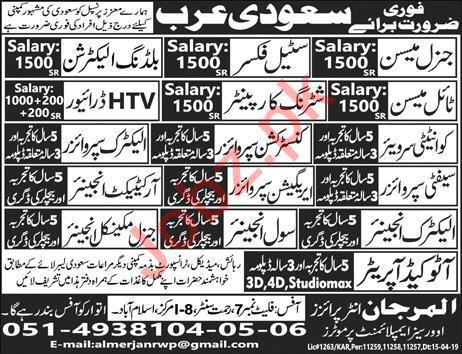 Engineer & Supervisor Job in Saudi Arabia