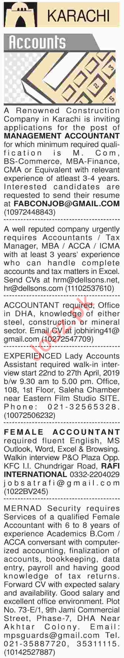 Dawn Sunday Classified Ads 21th April 2019 for Accounts