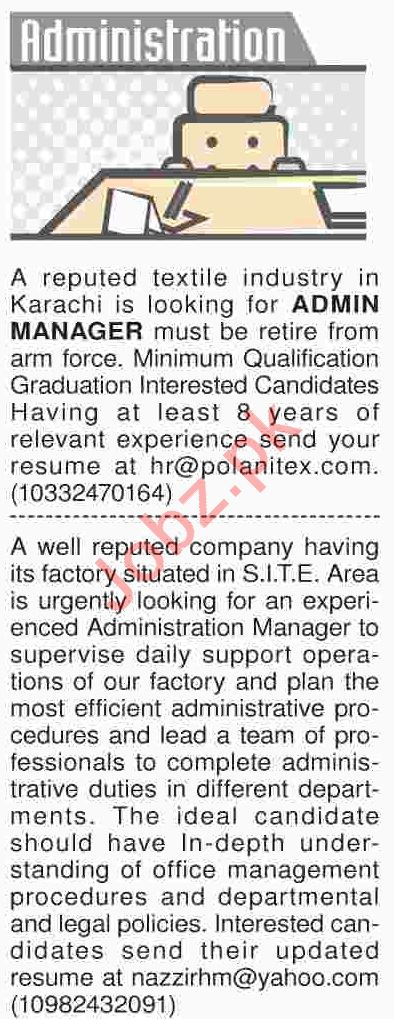 Dawn Sunday Classified Ads 21th April 2019 Administration
