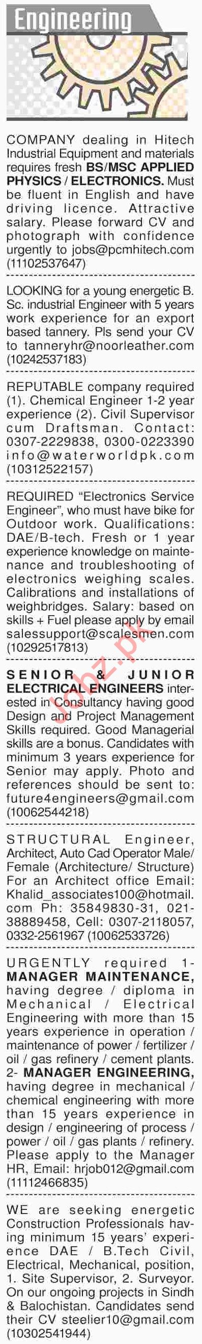 Dawn Sunday Classified Ads 21th April 2019 for Engineering