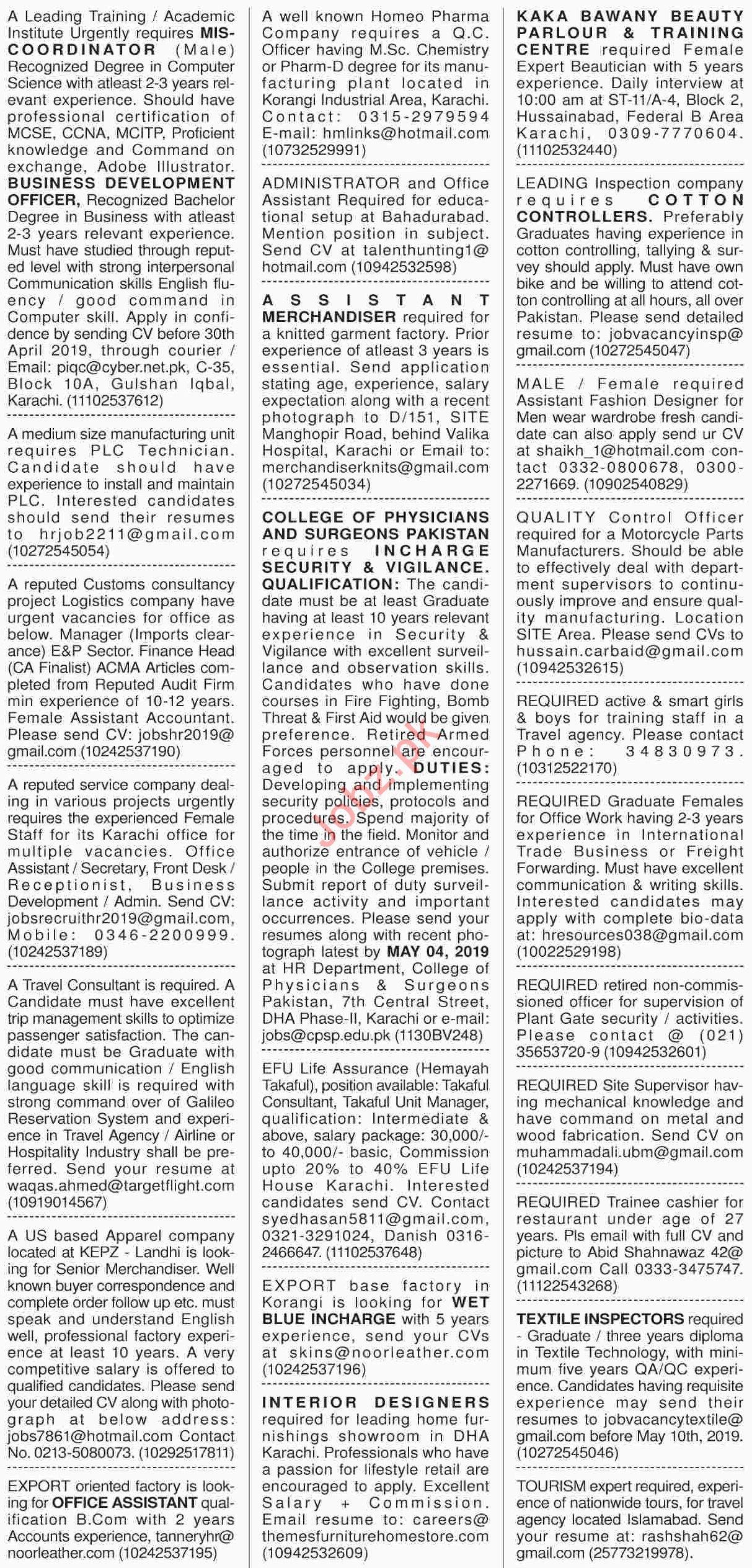 Dawn Sunday Classified Ads 21th April 2019 General Staff