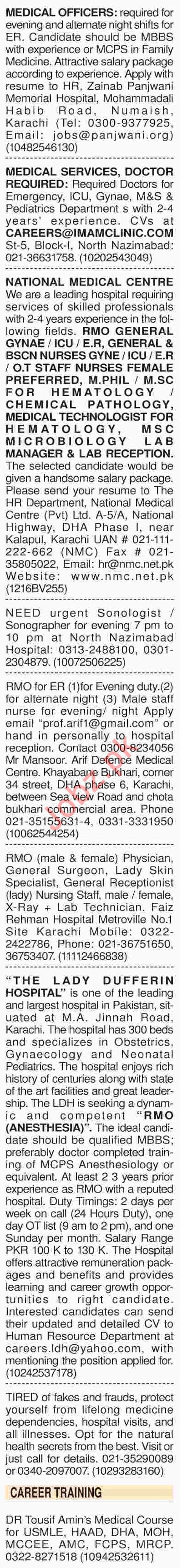 Dawn Sunday Classified Ads 21th April 2019 Medical Staff