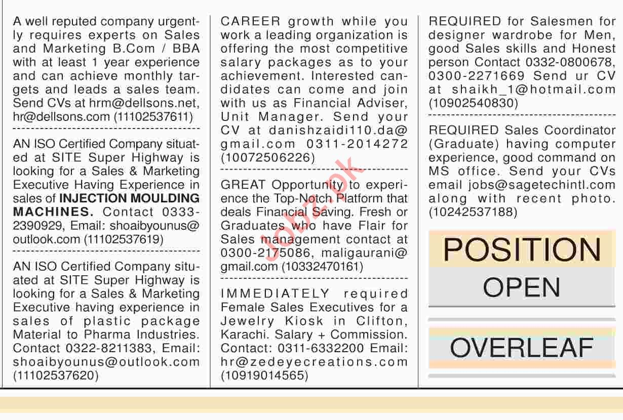 Dawn Sunday Classified Ads 21th April 2019 for Sales Staff