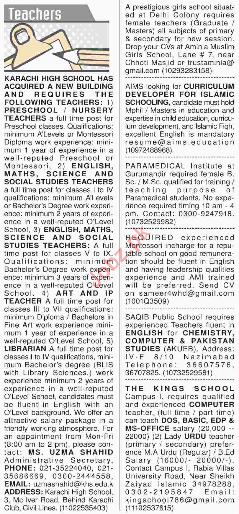 Dawn Sunday Classified Ads 21th April 2019 for Teachers