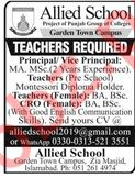 Allied School Garden Town Campus Teaching Jobs 2019