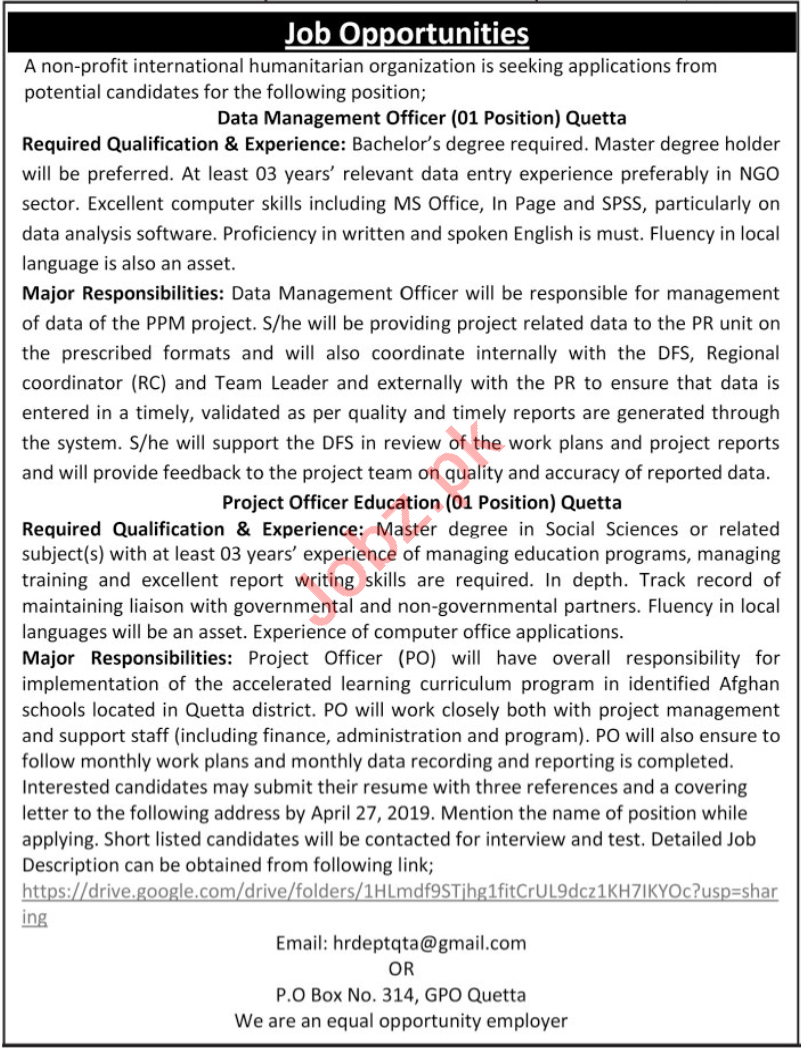 Data Management & Project Officer Job in Quetta