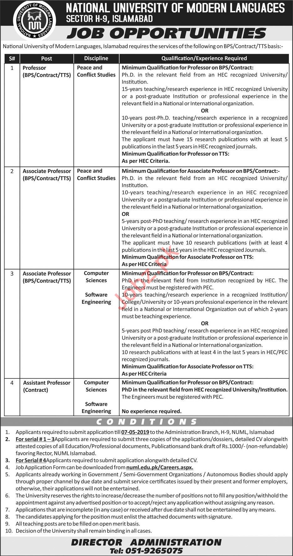 National University of Modern Language Professor Jobs 2019