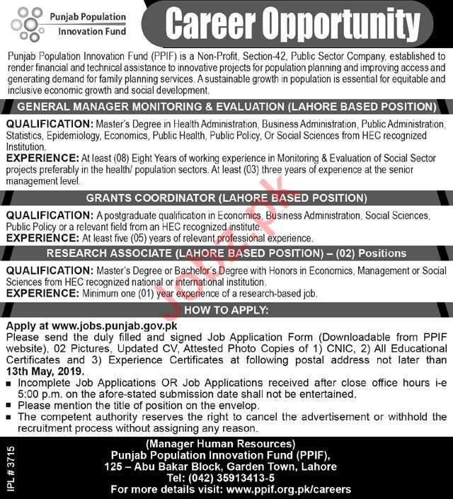 Punjab Population Innovation Fund Management Staff Jobs 2019