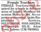 Teaching Staff Jobs 2019 in Lahore