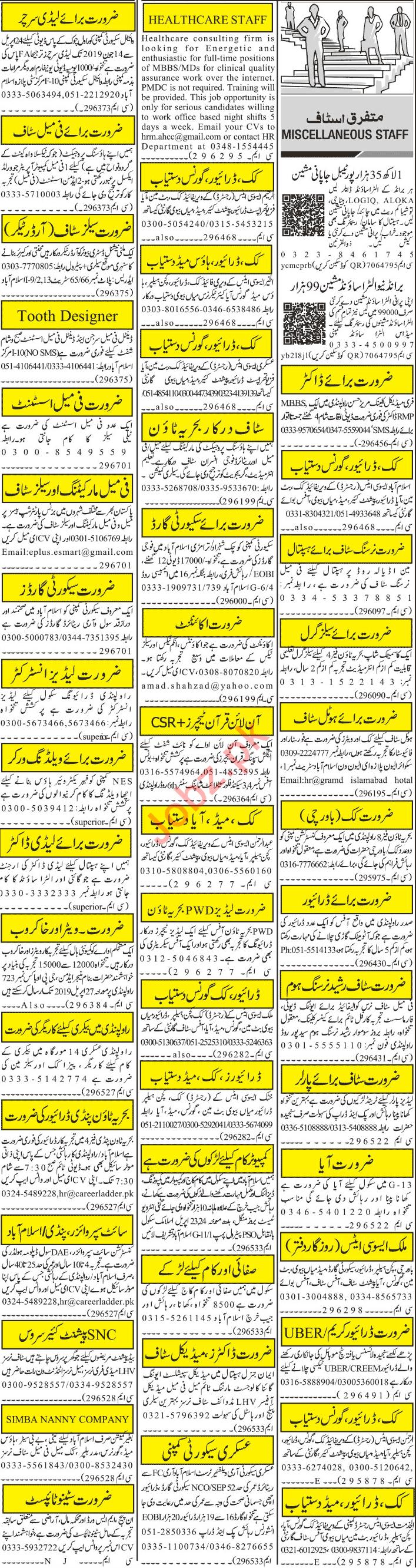 Jang Sunday Rawalpindi Classified Ads 21st April 2019