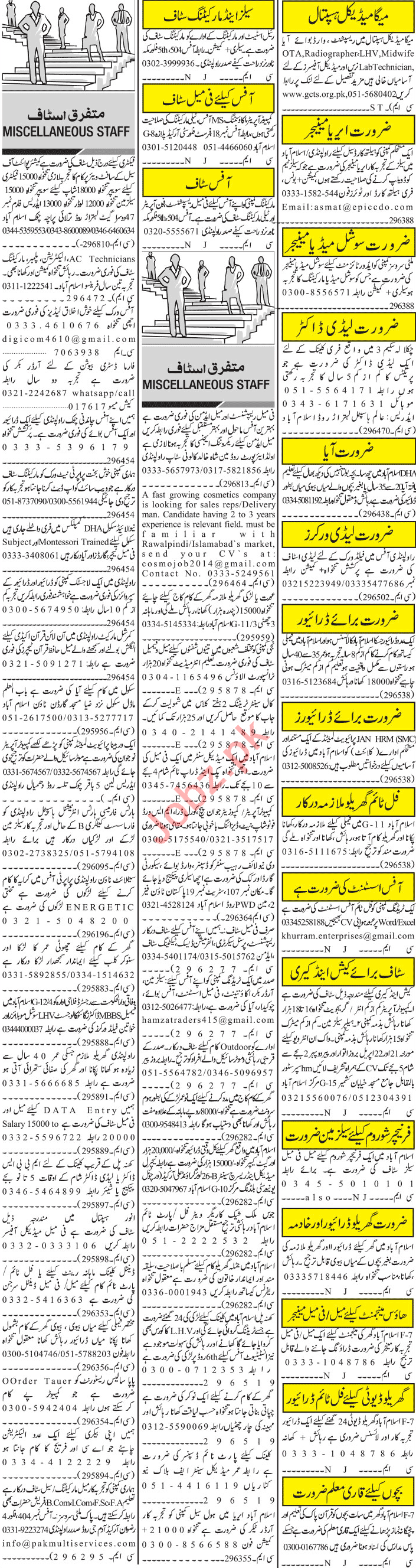 Jang Sunday Classified Ads 21st April 2019 Multiple Staff