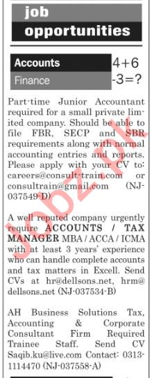 The News Sunday Classified Ads 21st April 2019 for Accounts