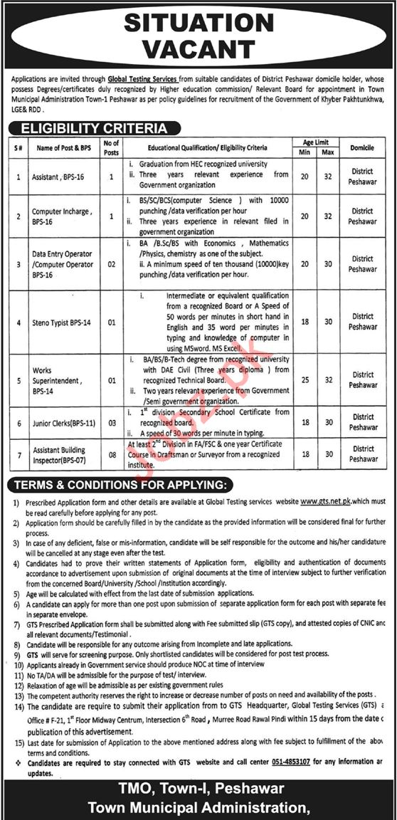 Town Municipal Administration Job in Peshawar