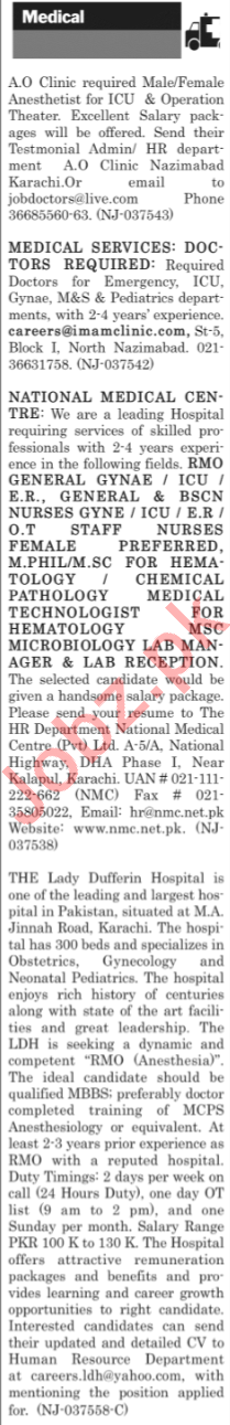 The News Sunday Classified Ads 21st April 2019 for Medical