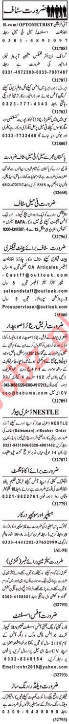 Nawaiwaqt Sunday Classified Ads 21st April 2019 Office Staff