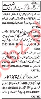 Nawaiwaqt Sunday Classified Ads 21st April 2019 for Medical