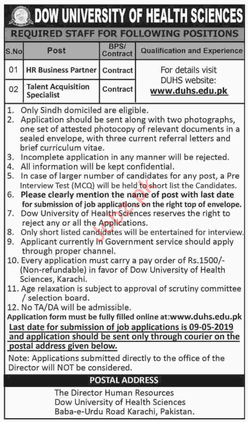 Dow University of Health Sciences DUHS Jobs 2019