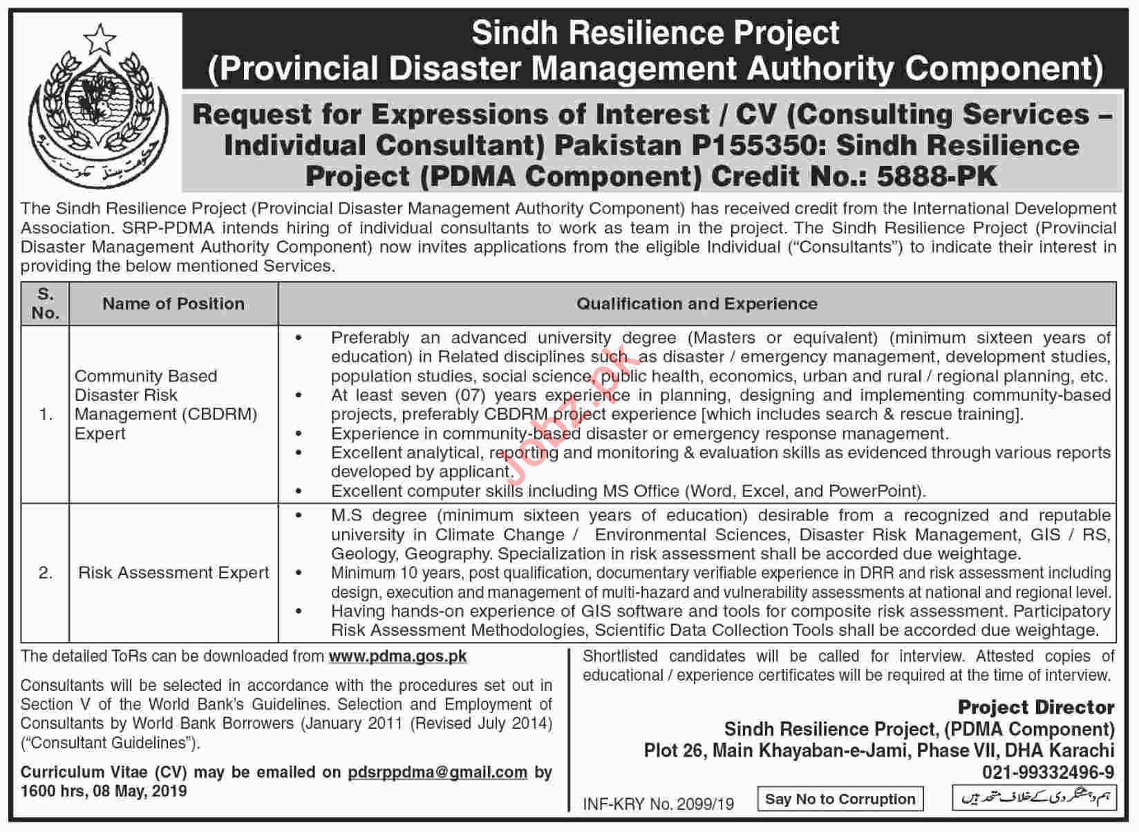 PDMA Sindh Jobs 2019 for Risk Assessment Expert
