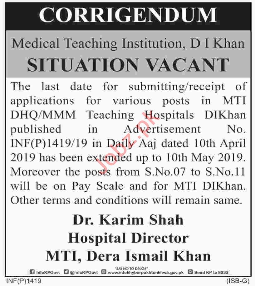 District Headquarter Hospital DHQ D I Khan Jobs 2019