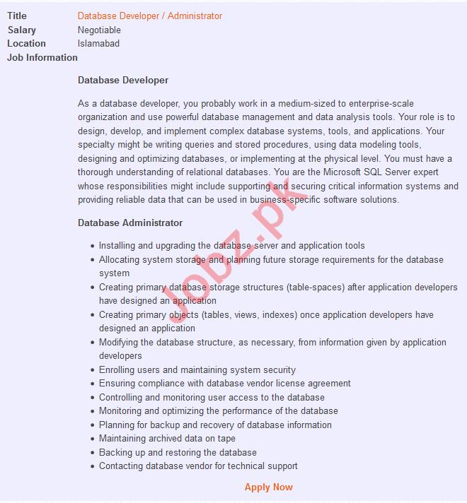 Database Developer & Administrator Jobs 2019