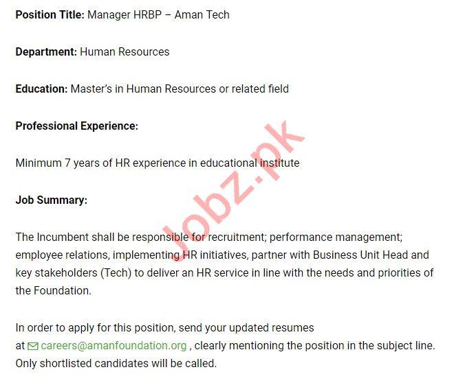 manager hrbp jobs 2019 in aman foundation 2019 job