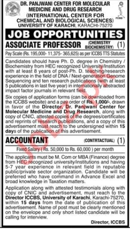 University of Karachi Accountant & Associate Professor Job