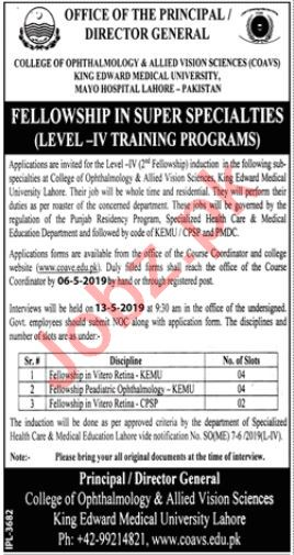 College of Ophthalmology & Allied Vision Sciences Jobs 2019