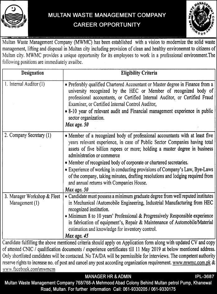 Multan Waste Management Company MWMC Jobs 2019
