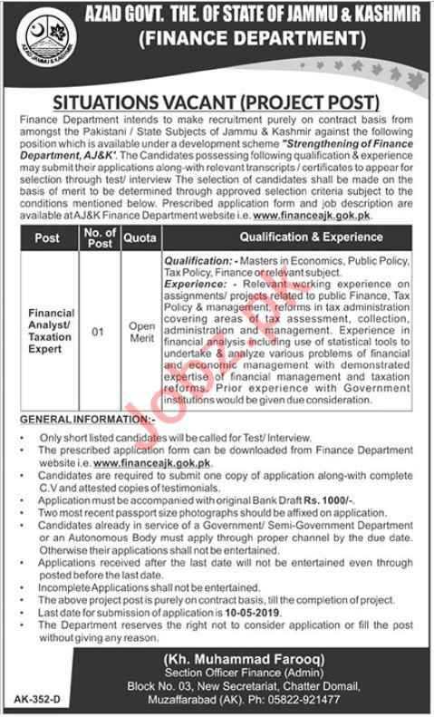 Finance Department  Jobs in Muzaffarabad 2019