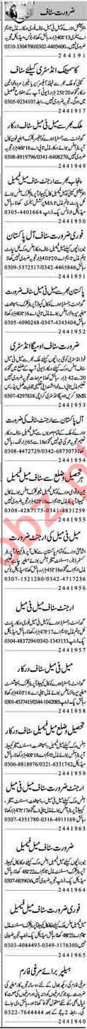 Male & Female Office Staff Jobs 2019 in Lahore