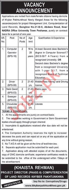 Directorate of Land Records Management Jobs 2019